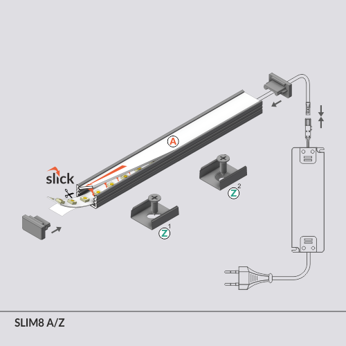 LED profile SLIM8 A/Z 2000 white painted